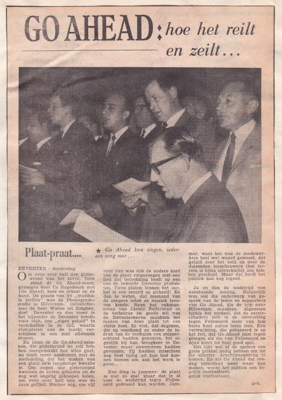 Artikel in het Deventer Dagblad van 9 maart 1967.